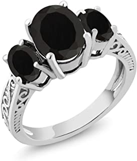 925 Sterling Silver Black Onyx 3-Stone Women's Ring 2.41 cttw Oval Gemstone Birthstone Available 5,6,7,8,