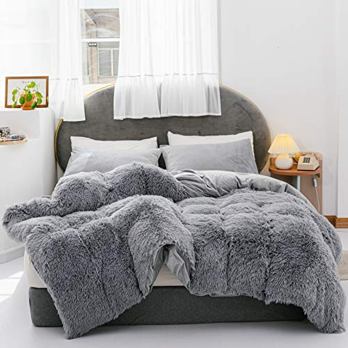 YIRDDEO 3 Pieces Fur Bedding Set, Shaggy Fluffy Duvet Cover, Velvet Ultra-Soft Microfiber, Solid Color(Grey, Queen)
