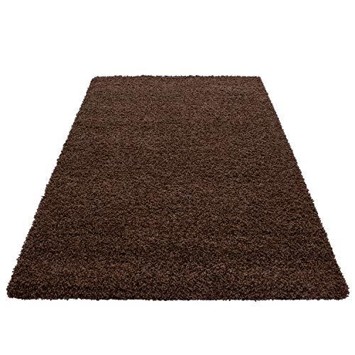 Teppich Hochflor Shaggy Teppich Unicolor einfarbig Teppich farbecht Pflegeleicht, Maße:60 cm x 110 cm, Farbe:Braun