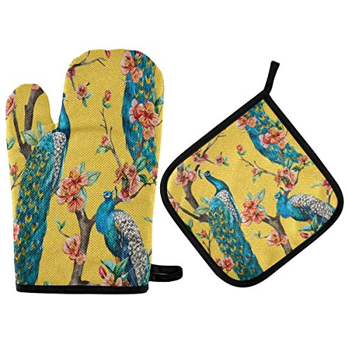 Suministros de cocina, guantes de horno y juegos de ollas Peacock Cherry Yellow Flowers Oven Mitts Quilted Cotton Lining Potholders BBQ Gloves Oven Mitts and Pot Holders Heat Resistant Kitchen G