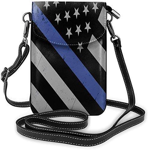Cell Phone Purse Thin Blue Line Police Flag Phone Wallet 3D Printed Vivid Card Holder Tiny Bag Durable PU Leather Passport Purse Wallet With Strap For Outdoor Travel