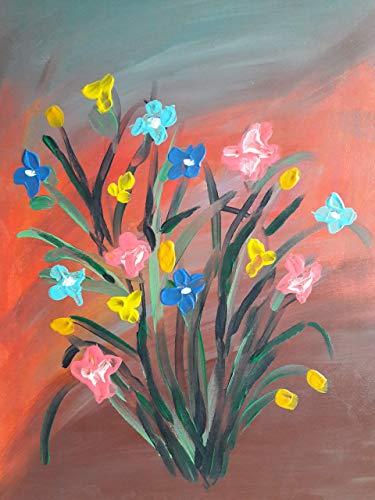 Original bunte Blumen im Sommer Acryl Malerei, Blumenstrauß, Sommerblumen, Blüten, Natur, Unikat Kunst Leinwand Bild floral bunt