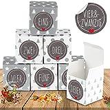 Adventskalender zum Befüllen, Adventskalender Boxen, Adventskalender Schachteln, Weihnachten Geschenkboxen für Kinder DIY Weihnachtliche Dekoration (Grau)