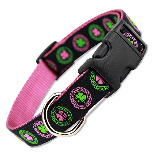 The Artful Canine Irish Dog Collar with Celtic Knots on Pink Nylon, Large Dogs 35-60lbs (Collar: 1' Wide, 12' - 20' Long)