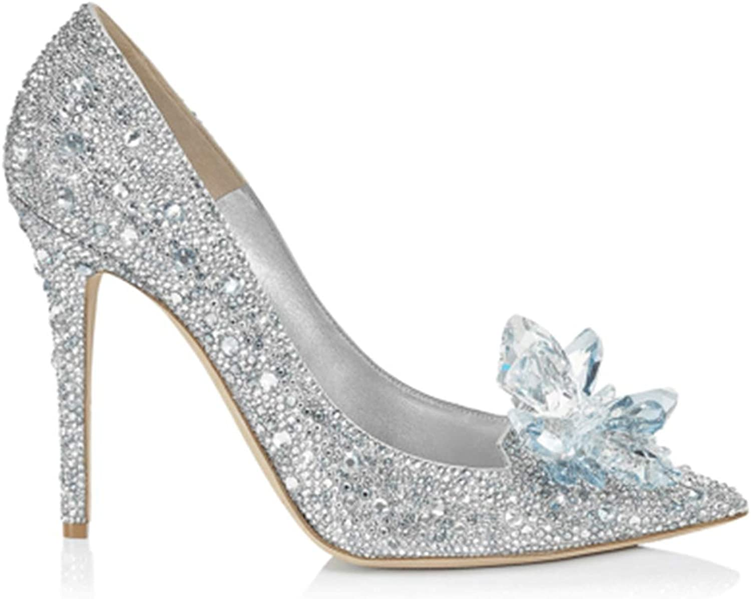 Wedding shoes for Bride, Romantic Wedding shoes Glass shoes Crystal shoes Dress high Heels Role Play