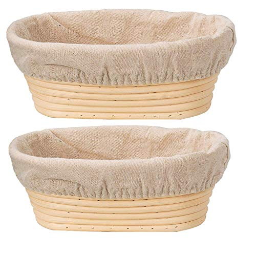 DOYOLLA Bread Proofing Baskets Set of 2 10 inch Oval Shaped Dough Proofing Bowls w/Liners Perfect for Professional & Home Sourdough Bread Baking