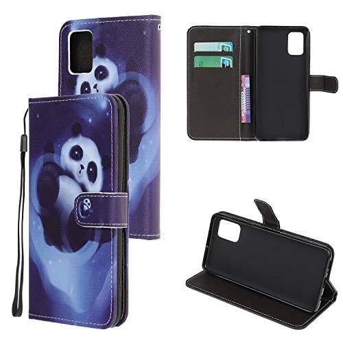 Miagon Bunt Muster Full Body Hülle für Samsung Galaxy A41,PU Leder Leder Flip Case Schutzhülle Tasche mit Ständer Kartenfach Magnetschnalle,Panda