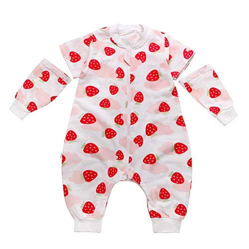 Happy Cherry - Saco de Dormir para Bebés Primavera Verano Mono con Manga Larga Desmontable Piernas Separados Pijama de Bebés con Cortoon Lindo - Fresa - 9-18 Meses