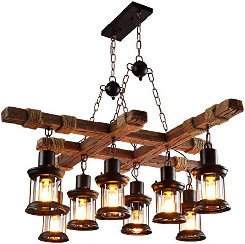 CX Lámpara de Madera Iza Rústica de la Vendimia, 8 Lámparas de Techo de Cuerda Industrial Retro de 8 Luces Lámparas de Techo E27 Lámpara de Luces Colgantes para Sala de Estar Salón