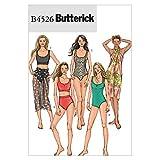 Butterick Patterns B4526 - Patrones de Costura para bañadores de Mujer y Pareos (Tallas 34, 36, 38 y 40), Color Blanco