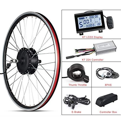 Kit de conversión de Bicicleta eléctrica ebike 26'48V 500W Rueda Trasera del Motor con Controlador sin escobillas 22A Pantalla KT LCD3 Pulgar y Acelerador para Adultos Bicicleta de Carretera