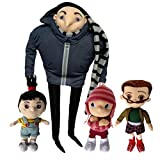 One Set of 4 PCS Despicable Me Character Plush Toy Gru Orphan Girls Margo Edith Agnes Family Stuffed Animal Soft Figure Doll with a Free Badge as Gift