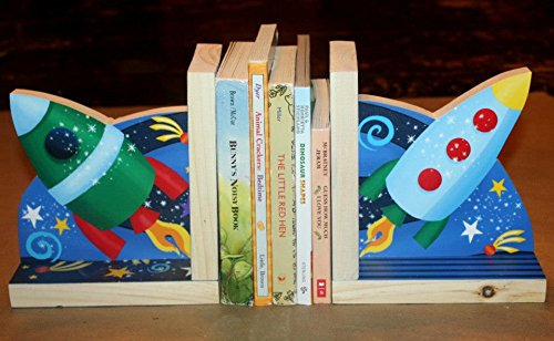 Toad and Lily Outerspace Rocket Ship Astronaut Boys Kids Bedroom Baby Nursery Wood Bookends BE0021