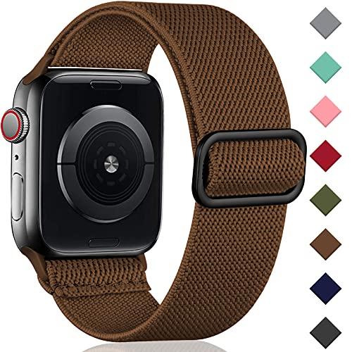 Oielai Solo Loop Correa de Compatible con Apple Watch 44mm 42mm 38mm 40mm, Correa Nylon de Repuesto Elástico Compatible con Apple Watch SE/iWatch Series 6 5 4 3 2 1, 42mm/44mm, Marrón