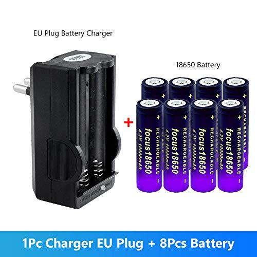 Jujupasg 18650 batería 3.7V 10000 mAh baterías Recargables de Iones de Litio para Linterna electrónica con Cargador Universal Inteligente-3,7 V_4 Pilas UE