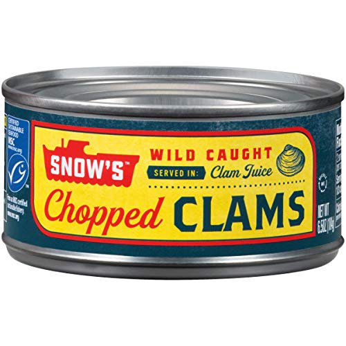 SNOWS BY BUMBLE BEE Chopped Clams, 6.5 Ounce Can (Case of 12), Canned Clams, Gluten Free, High Protein, Keto Food, Keto Snacks, Paleo Diet Food, Canned Food