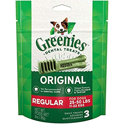 Greenies Original Dental Dog Treats, Regular Size for Dogs 25-50 Lbs, 3 Oz Pouch (3 Treats)