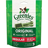 Contains One (1) 3-Oz., 3-Count Pack Of Greenies Original Regular Dog Dental Chews The Unique Texture Of Greenies Dog Chews Cleans Down To The Gum Line To Fight Plaque And Tartar And Freshen Breath Greenies Treats For Dogs Are Veterinarian Recommende...