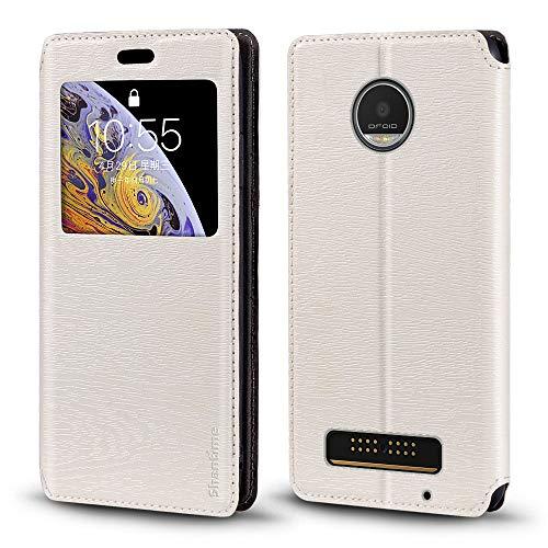 Capa para Motorola Moto Z Play, capa de couro de grão de madeira com porta-cartão e janela, capa flip magnética para Motorola Moto Z Play