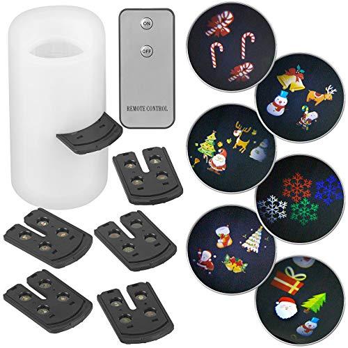 Lunartec LED-Projektorkerzen: LED-Projektions-Kerze, 24 weihnachtliche Motive, Fernbedienung, 15 cm (LED-Kerzen Kunststoff)