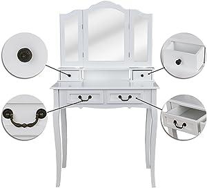 Hengda Toeletta Specchiera Tavolo Cosmetici Bianco Lusso tavol da Trucco 3 Specchio con 4 cassetti Stile coloniale Bianco Multifunzionale Tavolino da Toletta Moderno Comò