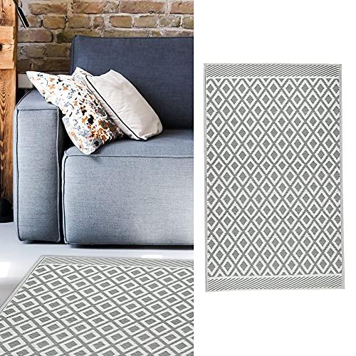 Teppich Outdoor 90x150 cm │Kunststoff grau-weiß│ Bodenmatte für Außenbereich (1 x Teppich grau/weiß)