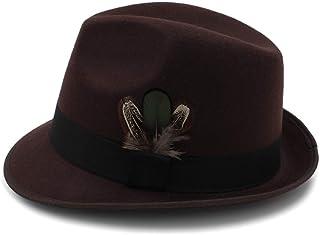 LaVintageエレガントウィンターウールフェドラ 秋冬女性男性Fedora帽子レトロジャズ帽子付き羽広いつば野生紳士結婚式の帽子ホリデーパーティー帽子 女性の女の子の夏の麦わら帽子 (色 : コーヒー, サイズ : 56-58CM)