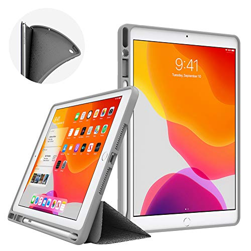 Dadanism New iPad 10.2 Case 2019, iPad 7th Generation Case with Pencil Holder (10.2 inch)-[Strong Protection] Ultra Slim Shockproof Soft TPU Back Trifold Stand Smart Cover, Auto Sleep/Wake - Dark Gray
