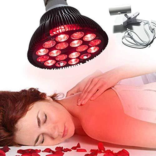 BTTHWR Rotlicht-Therapielampe, 54W 18 LED-Infrarot-Licht-Therapiegerät, 660nm Rotlicht und 850nm Nahinfrarot-Kombi-Rotlichtbirne zur Haut- und Schmerzlinderung