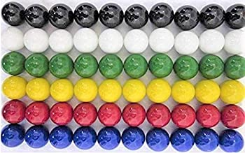 60 Large 1   25mm  Replacement Solid Glass Marbles for Chinese Checkers Aggravation or Marble Games  10 Each of Red Blue Yellow White Green Black