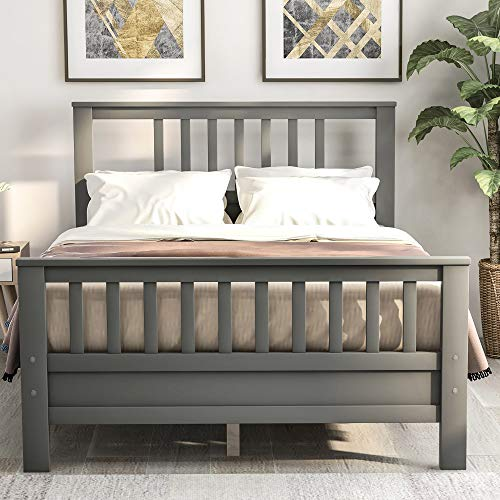 JULYFOX Grey Bed Frame Full 500lb Heavy Duty, Hard Wood Platform Bed with Headboard Slatted Footboard No Box Spring Needed(Full, Gray)