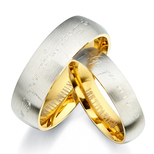 Carcasa el Señor de los anillos Elfos y masculino Her dos tonos de pareja 18 K amarillo dorado y plateado cepillo y a base de Juego de anillos de boda de titanio, talla H a Z6