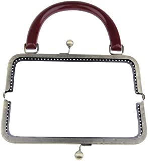 Prettyia Square Metal Frame Kiss Clasp with Wooden Handle for Coins Purse Change Bag Accessories DIY Findings