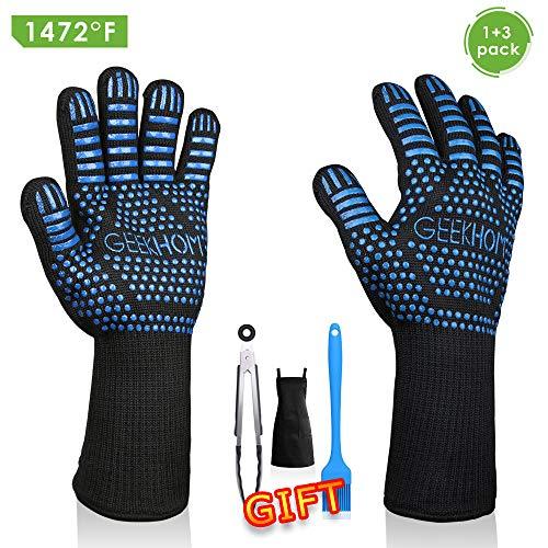 GEEKHOM Grilling Gloves 1472℉ Heat Resistant BBQ Grill Gloves EN407 Certified 13 Inch...