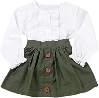 Little Girls Two Piece Clothes Set Good Kids Fall School Oufits Ruffles Clean White Shirt Buttons A-line Skirt
