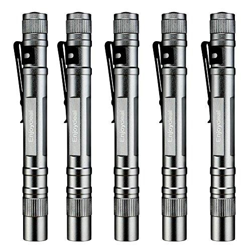 Enjoydeal 5 Pcs Pocket 1200LM LED Pen Silver White Flashlights, Slim Mini Super Bright Penlight for Indoor Outdoor, 5.5inch