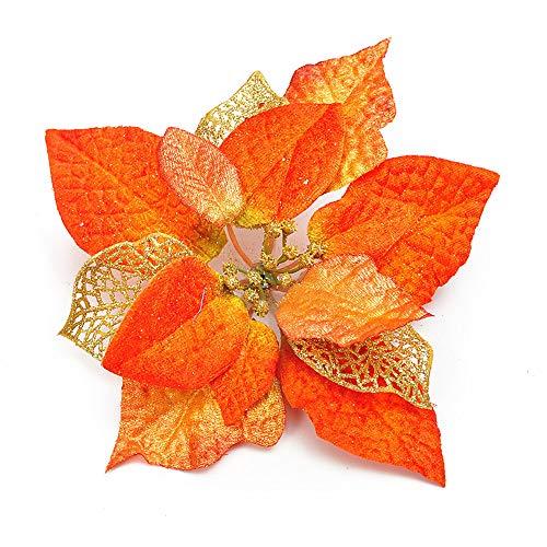 Riverbyland 8' 6 Pcs Poinsettia Flower Christmas Decorations Tree Ornament Orange