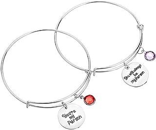 """Mainbead, 2 braccialetti per migliori amiche, con scritta in lingua inglese """"You are my person"""", bracciale in ..."""