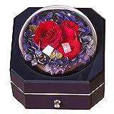 SYOSY Rosa eterna con Hermosa Caja de Regalo para el día de San Valentín, cumpleaños, día de la Madre, Regalos románticos de Boda para Ella, Caja de joyería Premium