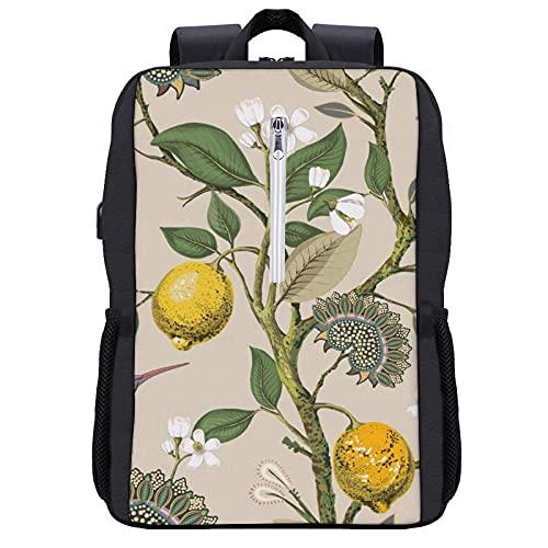 Zaino per computer portatile con porta di ricarica USB, da 13 a 15,6 cm, borsa da viaggio antifurto per uomini e donne, rosa arancione frutta, Nero-stile 10, Taglia unica
