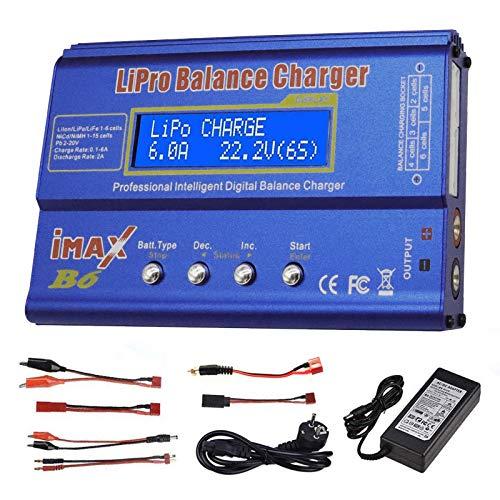 Cargador Lipo 80 W 6 A balance cargador para batería LiPo Li-ion LiFe-NiCd-NiMh-Pb, cargador inteligente multifunción RC Hobby batería LED con fuente de alimentación