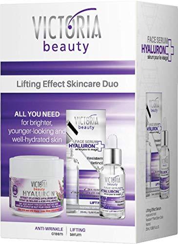 Victoria Beauty - Anti Aging Set mit Hyaluronsäure und Retinol, Geschenkset für Frauen, Geschenkbox für Damen mit Hyaluron Serum und Hyaluron Creme, Anti Falten Gesichtspflege Set