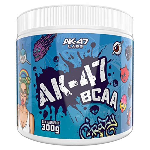 AK 47 Labs BCAA Powder | Sugar Free Branched Chain Amino Acids Supplement with Electrolytes for Recovery & Hydration - 300g / 30 Servings - 7.5g BCAAs for Men & Women | Blue Raspberry