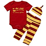 Symphony Baby Boys Girls Snuggle This Muggle Bodysuit and Striped Pants Outfit with Hat (RED, 80 (6-9M))