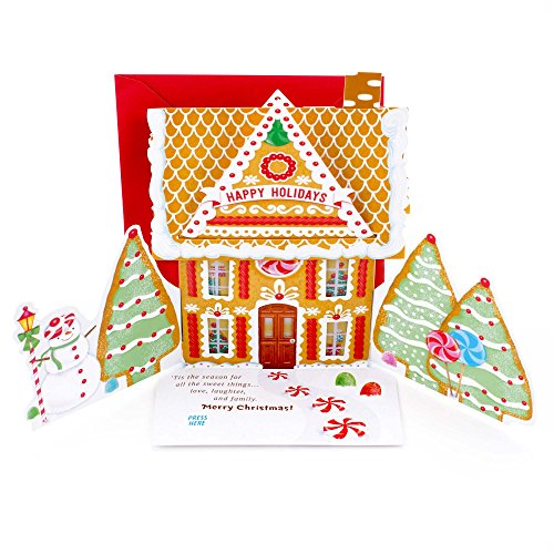 Hallmark Christmas Pop Up Card with Light and Song (Displayable Dimensional Gingerbread House Plays Deck the Halls)