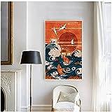 Mmpcpdd Lienzo impreso artístico de pintura de estilo japonés paisaje pintura onda grúa sol rojo pared fotos decoración del hogar sala de estar -60 x 90 cm x 1 marco
