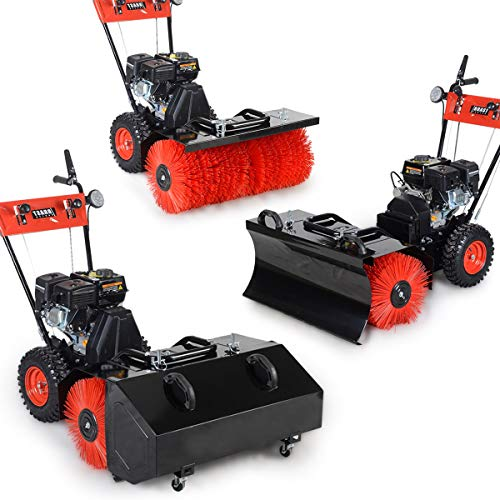BRAST Benzin Kehrmaschine Laubsammler Schneeschieber 4,8kW(6,5PS) 80cm Breite Elektrostart Schnellwechsel-System Schneeräumer 3 in 1 Gerät