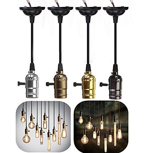 GreenSun Douille E27 Edison Lustre Suspension Style Vintage Antique Rétro Adaptateur de Lampe 110-220V Set avec Interrupteur et Câble 1M 4Pcs