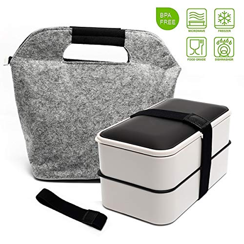 Fun Life Bento 2 Lier Lunch Box, 1200ML Food Storage Container, Stackable Meal Prep with Cutlery and A Insulated Bag, Leakproof, Dishwasher, Microwave Safe, Silver
