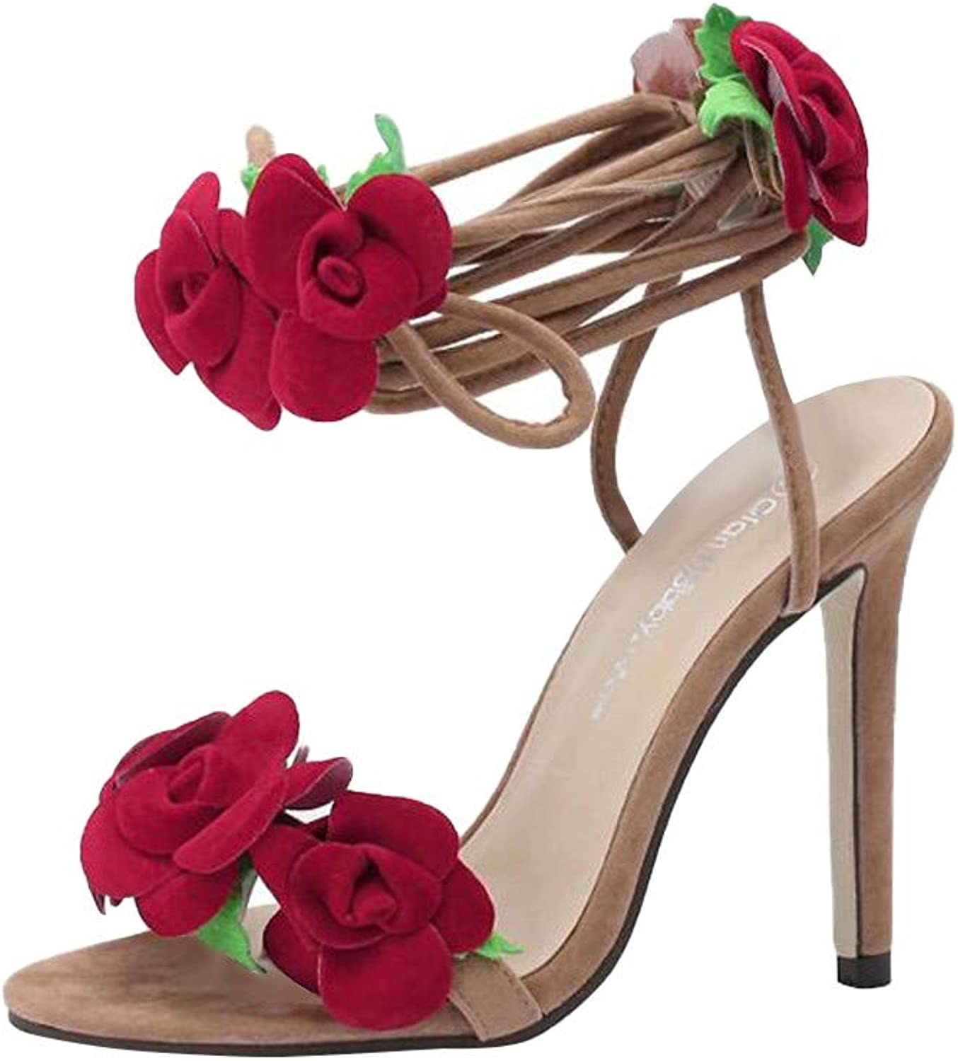 CHLZYD prevalent fashionable Women's Summer Flower Slippers Open Toe Strap High Heels shoes